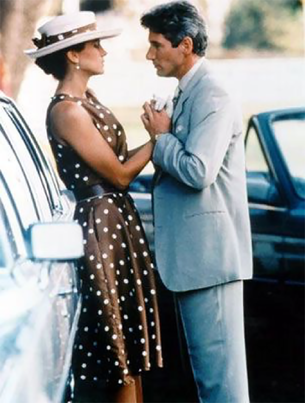 dior carolina herrera polka dot dots dress 1980 vintage fashion history designer feraggio feraggioheels high heels julia roberts races horse pretty woman