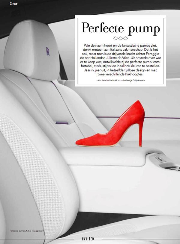 FERAGGIO Scarlet Red Invited Magazine Rolls Royce Comfy heels