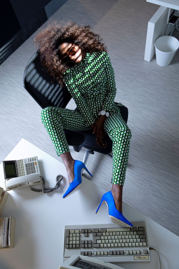 model with heels in office
