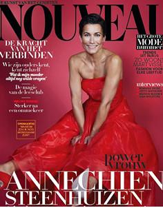 Annechien Steenhuizen wearing Scarlet Red Feraggio 10CM in Nouveau Magazine