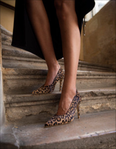 lean leopard feraggio high heels comfy comfortable pumps stilettos pony hair print high end quality handcrafted craftsmanship